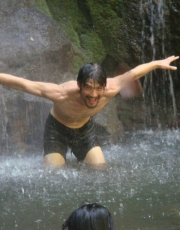 Simon in the Waterfall