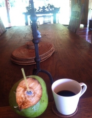 Drinks of choice:  fresh coconut juice + Costa Rican coffee!