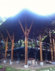 Sun rises on the mystical yoga pagoda at Sanctuary at the 2 Rivers
