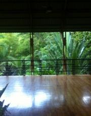 Morning at the incredible yoga pagoda at Sanctuary at the 2 Rivers