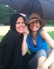 Elizabeth and Yvonne Under The Umbrella